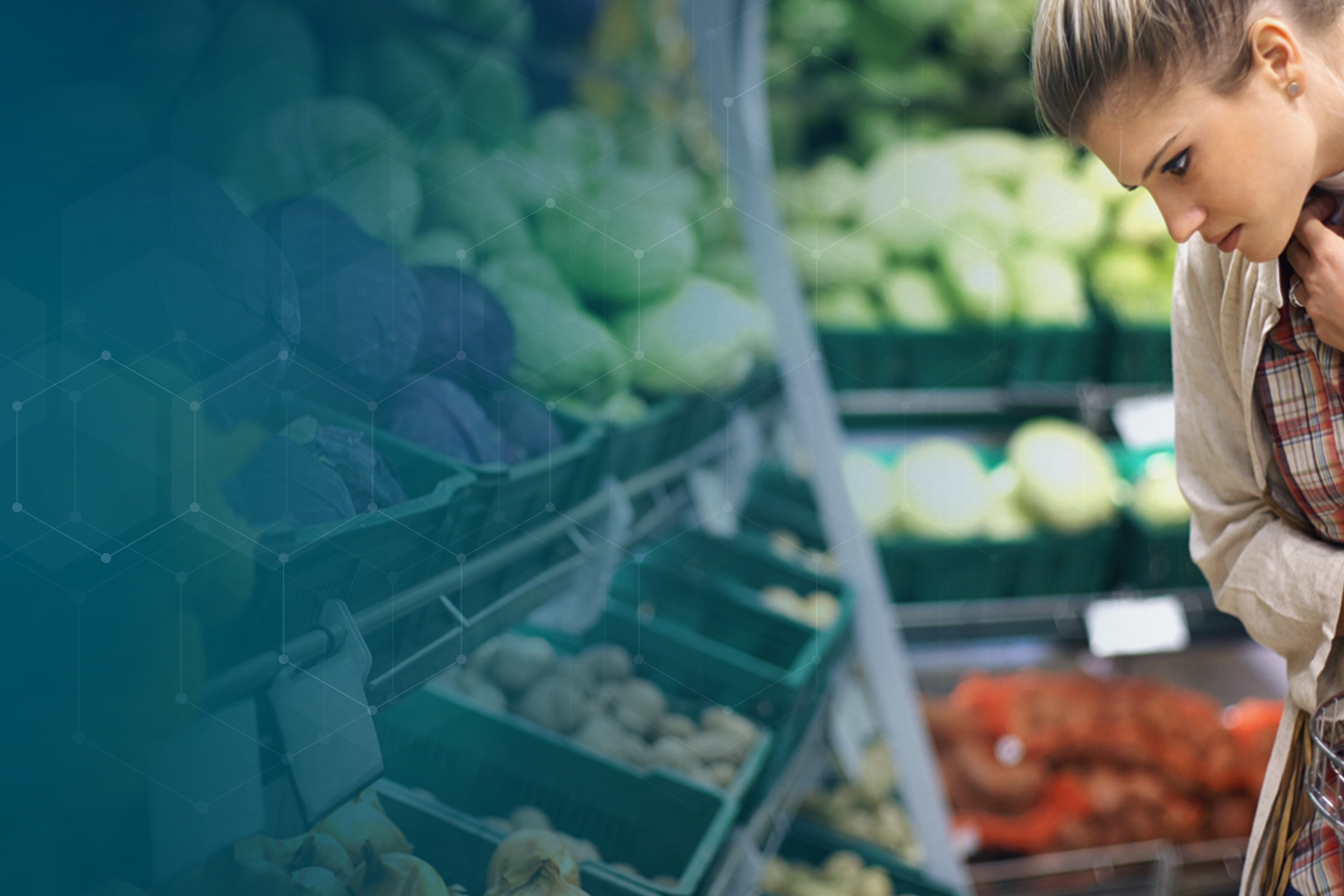 Woman looking at baskets of fresh vegetables in market with molecular overlay